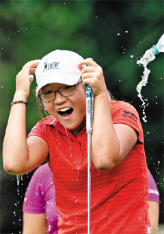 Lydia Ko is doused by fellow golfers after winning the LPGA Tours CN Canadian Womens Open golf tournament at the Vancouver Golf Club in Coquitlam, British Columbia on Sunday.