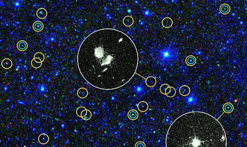This zoomed-in view of a portion of the all-sky survey from NASAs Wide-field Infrared Survey Explorer shows a collection of quasar candidates. Quasars are supermassive black holes feeding off gas and dust. /NASA