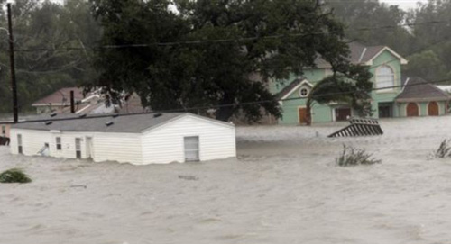 Homes are flooded after Hurricane Isaac slammed Braithwaite, Louisiana on Aug. 29, 2012. /AP