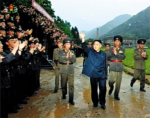 North Korean leader Kim Jong-un inspects a military unit on the eastern frontline on Tuesday. /[North] Korean Central TV-Yonhap