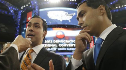 San Antonio Mayor Julian Castro (left), who will be the convention keynote speaker, and his twin brother, State Representative Joaquin Castro, who is running for U.S. Congress, are interviewed at the Democratic National Convention in Charlotte, North Carolina on Sept. 3, 2012. /AP
