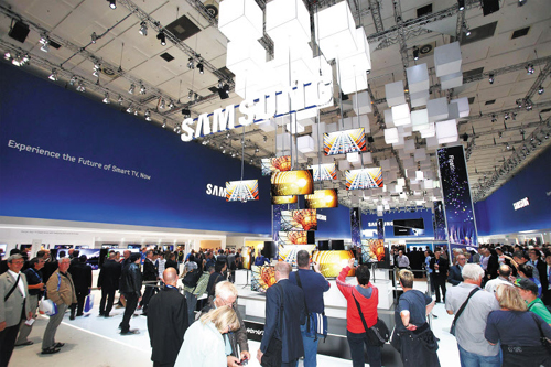 Samsungs 55-inch OLED TVs hang from the ceiling at the Internationale Funkausstellung in Berlin. /Yonhap