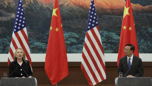 Chinese Foreign Minister Yang Jiechi (right) and U.S. Secretary of State Hillary Clinton hold a news conference at the Great Hall of the People in Beijing on Sept. 5, 2012. /Reuters