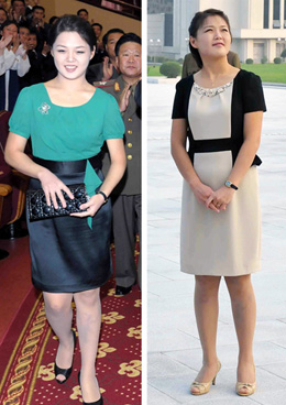 North Korean first lady Ri Sol-ju carrying a Christian Dior clutch bag (left) and wearing a Movado watch