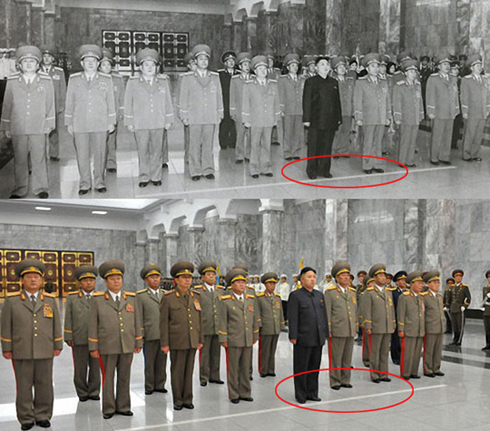 North Korean leader Kim Jong-un and senior officials pay tribute at the Kumsusan Palace of the Sun in July (top) and on Sunday (bottom). /Rodong Sinmun-Yonhap