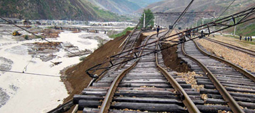 Railroad tracks are damaged by typhoon Bolaven in South Hamgyong Province in North Korea. /[North] Korean Central News Agency-Yonhap