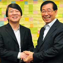 Ahn Cheol-soo (left) and Park Won-soon