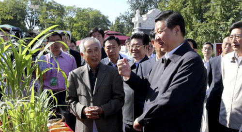 In this photo released by Xinhua news agency, Chinese Vice President Xi Jinping (front right) attends an activity to mark this years National Science Popularization Day at China Agricultural University in Beijing on Sept. 15, 2012. /AP