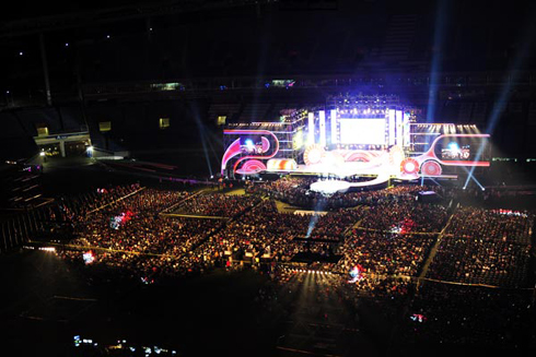 The Munhak World Cup Stadium in Incheon is packed with fans for the nations biggest K-pop festival on Sept. 9.