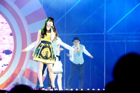 IU sings at the concert on Sept. 9.