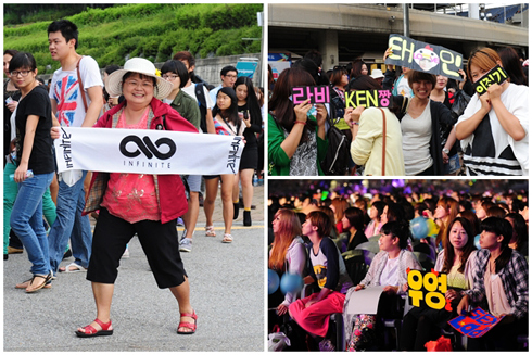 Foreign fans queue for the concert.