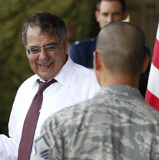 U.S. Secretary of Defense Leon Panetta prepares to give a 