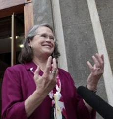Karen King, a professor at Harvard Divinity School, is interviewed outside the Augustinianum institute in Rome, where an international congress on Coptic studies is being held on Sept. 19, 2012. /AP