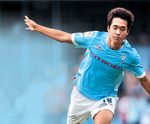 Park Chu-young celebrates after scoring the go-ahead goal for Celta Vigo against Getafe at the Balaidos Stadium in Vigo on Sunday. /EPA