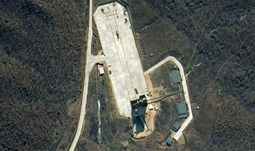 Satellite image provided by DigitalGlobe shows the Tongchang-ri launch facility on North Koreas northwest coast on April 6, 2012. /AP