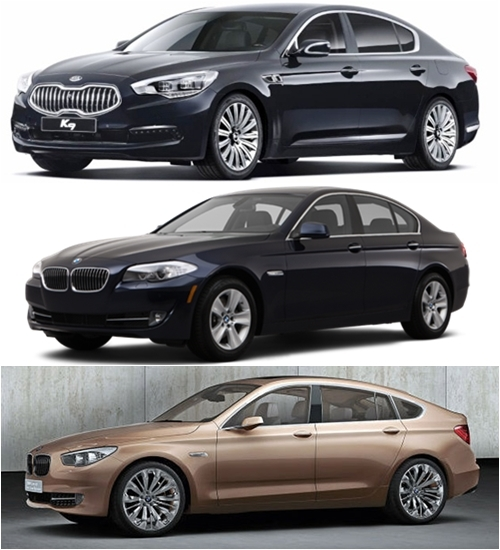 From top, the Kia K9, BMW 5 Series and BMW GT