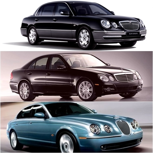 From top, the Kia Opirus, Mercedes E-Class and Jaguar S-Type