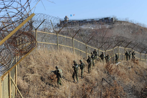 South Korean soldiers patrol in the demilitarized zone in Hwacheon, Gangwon Province.