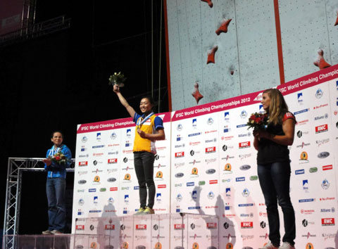 Kim Ja-in (center) celebrates her victory at the World Climbing Championship in Paris in September. /Courtesy of Korean Alpine Federation