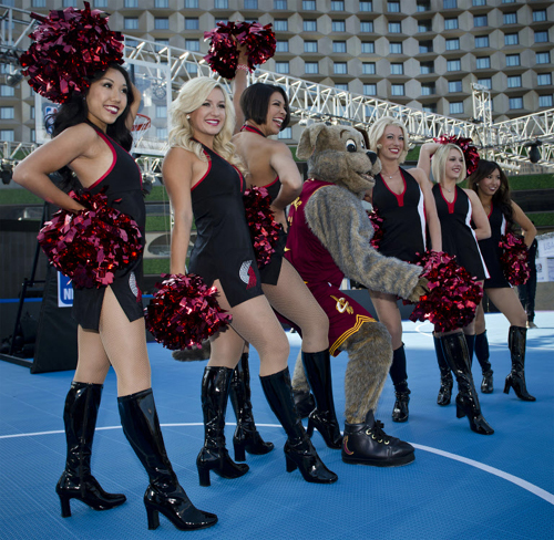 Cheerleaders of NBAs Portland Trail Blazers pose at the 2012 NBA 3X Korea street basketball competition in Seoul on Friday.