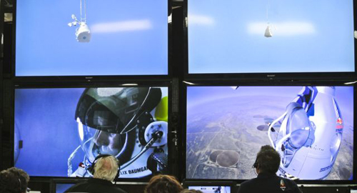 In this photo provided by Red Bull, pilot Felix Baumgartner of Austria is seen in a screen at mission control center in the capsule during the final manned flight for Red Bull Stratos in Roswell, New Mexico on Sunday on Oct. 14, 2012. /AP