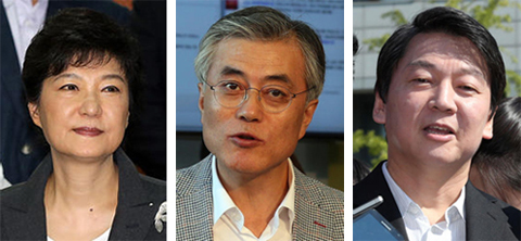 From left, Park Geun-hye, Moon Jae-in and Ahn Cheol-soo