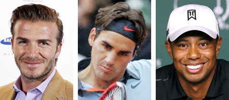 From left, David Beckham, Roger Federer and Tiger Woods