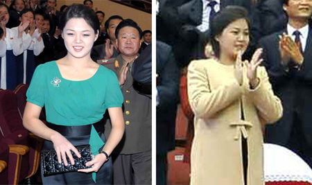 Ri Sol-ju, the wife of North Korean leader Kim Jong-un, appears to be pregnant in a photo (right) released in the Tuesday edition of the Rodong Sinmun daily. Ri on Aug. 30 (left).
