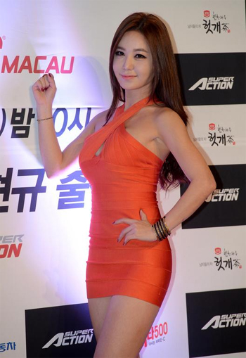 Kang Ye-bin poses at a send-off ceremony in Seoul on Friday for Korean fighters who will take part in a UFC event in Macau next week. She will make her debut as Koreas first Octagon Girl in the event.