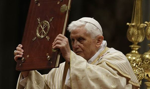 Pope Benedict celebrates the Christmas Eve Mass in St. Peters Basilica at the Vatican on Dec. 24, 2012. /AP