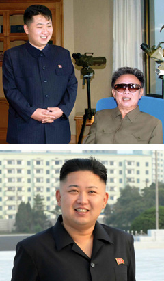 Kim Jong-un (left) standing beside late leader Kim Jong-il in 2009 (top) and in August 2012 (bottom). /Rodong Sinmun-KCNA