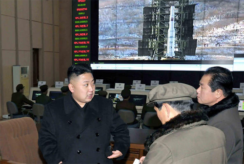 North Korean leader Kim Jong-un visits a rocket control center in Cholsan, North Pyongan Province.