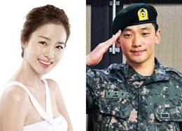 Kim Tae-hee (left) and Rain