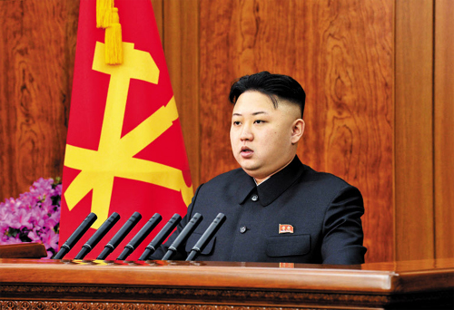 North Korean leader Kim Jong-un makes an address on New Years Day. /[North] Korean Central News Agency-Yonhap