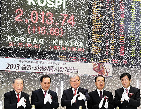 Financial Services Commission Chairman Kim Seok-dong (center) and Korea Exchange Chairman Kim Bong-soo (second left) celebrate during an opening ceremony for the securities and derivatives market in Yeouido, Seoul on Wednesday. /Yonhap