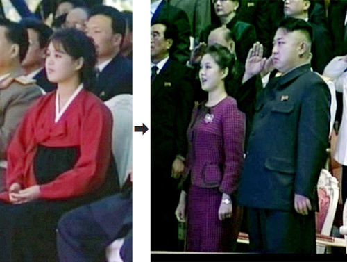 Ri Sol-ju (left) on Dec. 21, 2012 and Ri (right) with Kim Jong-un on Tuesday /[North] Korean Central TV