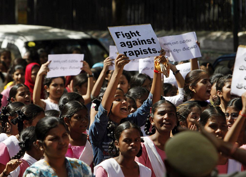 Students participate in a protest rally, in Hyderabad, India on Dec. 31, 2012. /AP