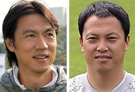 Hong Myung-bo (left) and Lee Woon-jae