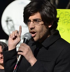 Demand Progress founder and director Aaron Swartz protesting against Stop Online Piracy Act bill on Jan. 18, 2012. /Courtesy of Daniel J. Sieradski/Creative Commons