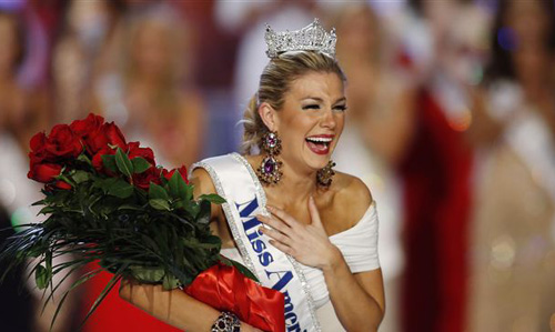 Miss New York Mallory Hytes Hagan reacts as she is crowned Miss America 2013 in Las Vegas on Jan. 12, 2013. /AP
