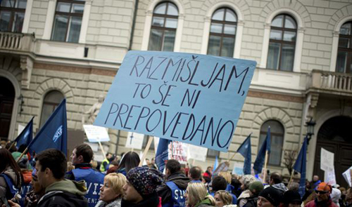 Public workers take part in a protest in downtown Ljubljana on Jan. 23, 2013. /AP