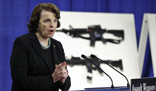 Sen. Dianne Feinstein addresses a news conference on Capitol Hill in Washington on Jan. 24, 2013 to introduce legislation on assault weapons and high-capacity ammunition feeding devices. /AP