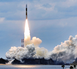 An H2-A rocket carrying two satellites lifts off from its launch pad at Tanegashima Space Center, southwestern Japan on Sunday. /Kyodo-Newsis 