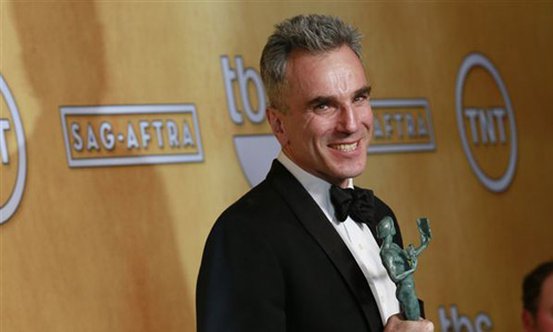 Daniel Day-Lewis poses backstage after winning the award for outstanding male actor in a leading role for