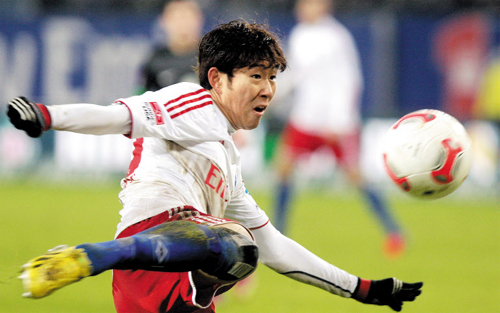 Son Heung-min during the Bundesliga match between Hamburger SV and SV Werder Bremen at the Imtech Arena in Hamburg, Germany on Sunday. /Yonhap