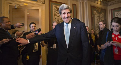 Senator John Kerry emerges after a unanimous vote by the Senate Foreign Relations Committee approving him to become Americas next top diplomat, replacing Secretary of State Hillary Rodham Clinton, on Capitol Hill in Washington on Jan. 29, 2013. /AP