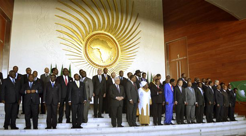 Heads of the African States pose for a group picture in Addis Ababa, Ethiopia on Jan. 27, 2013, during the African Union Conference. /AP