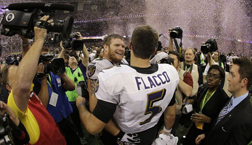 Baltimore Ravens quarterback Joe Flacco (5) and offensive lineman Marshal Yanda (73) celebrate their teams 34-31 win against the San Francisco 49ers in the NFL Super Bowl XLVII football game in New Orleans on Feb. 3, 2013. /AP