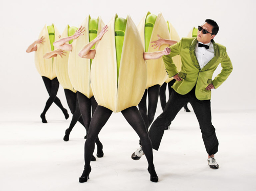 Psy performs during the filming of a Super Bowl commercial for