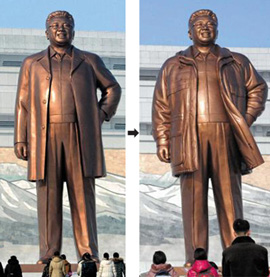 A bronze statue of former North Korean leader Kim Jong-il at Mansudae in Pyongyang before (left) and after being fitted with his trademark anorak. /Reuters-Newsis